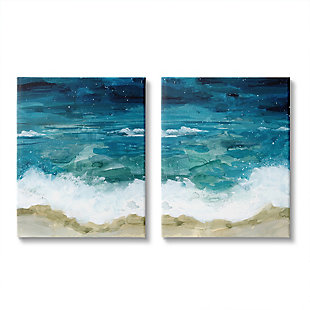 Tide Crash To Shore Watercolor 2-piece Canvas Wall Art 24x30, Blue, large