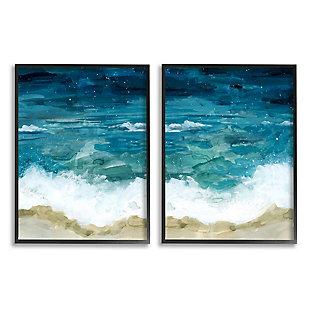 Tide Crash to Shore Watercolor 2-Piece Canvas Wall Art 11x14, , large