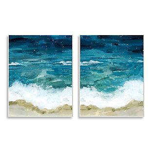 Tide Crash to Shore Watercolor 2-Piece Canvas Wall Art 10x15, , large
