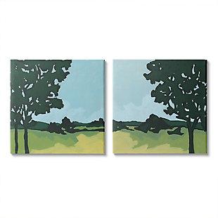 Trees in Meadow Landscape 2-Piece Canvas Wall Art 24x24, Green/Blue, large
