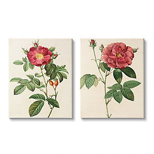 Traditional Red Flowers 2-Piece Canvas Wall Art 24x30, Beige, large