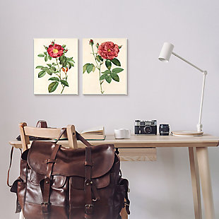 Traditional Red Flowers 2-Piece Canvas Wall Art 16x20 with Black Frame, Beige, rollover