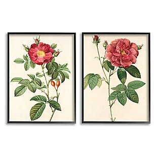 Traditional Red Flowers 2-Piece Canvas Wall Art 16x20 with Black Frame, Beige, large