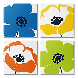 Vibrant Modern Floral Collage 17 x17 Canvas (Set of 4), Multi, large