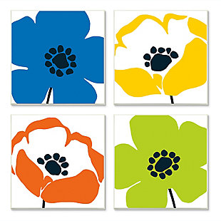Vibrant Modern Floral Collage 12x12 Canvas (Set of 4), , large