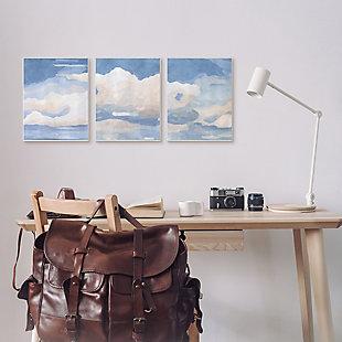 Sky Blue Cloud Scape 24x30 Canvas (Set of 3), Blue, rollover