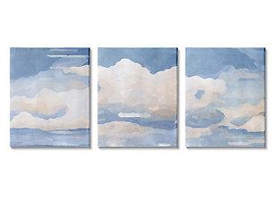 Sky Blue Cloud Scape 24x30 Canvas (Set of 3), Blue, large
