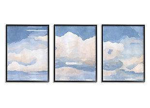 Sky Blue Cloud Scape 16x20 Black Framed Painting (Set of 3), , large