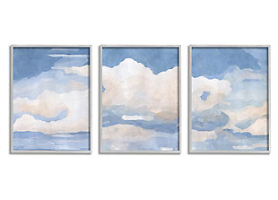 Sky Blue Cloud Scape 16x20 Gray Framed Painting (Set of 3), , large