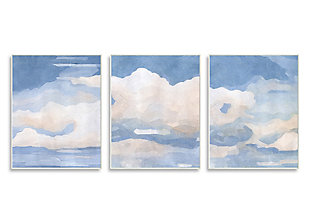 Sky Blue Cloud Scape 10x15 Wall Plaque (Set of 3), , large