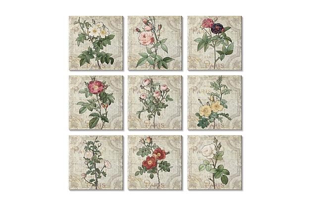 Parisian Spring Florals 12 x12 Canvas Art (Set of 9), , large