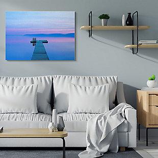 Lake Dock Landscape Photograph 36x48 Canvas Wall Art, Blue, rollover