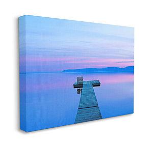 Lake Dock Landscape Photograph 36x48 Canvas Wall Art, Blue, large