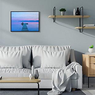 Lake Dock Landscape Photograph 24x30 Black Frame Wall Art, Blue, rollover