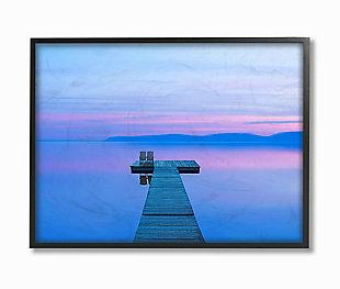 Lake Dock Landscape Photograph 24x30 Black Frame Wall Art, Blue, large