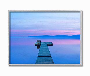 Lake Dock Landscape Photograph 16x20 Gray Frame Wall Art, Blue, large