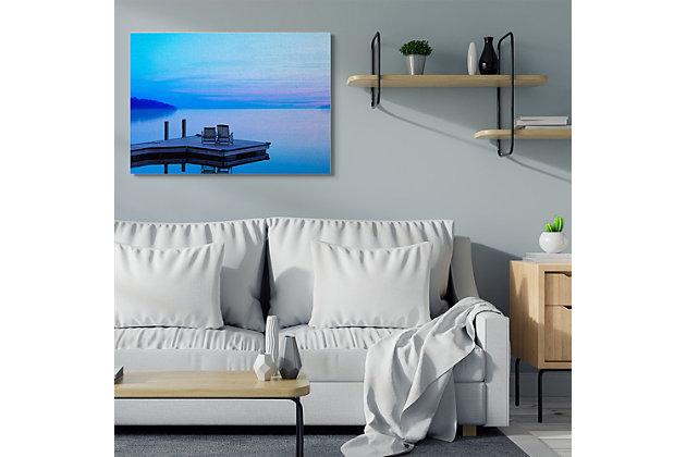 Lake Landscape Photograph 36x48 Canvas Wall Art, Blue, large