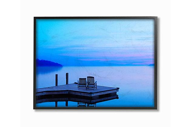 Lake Landscape Photograph 24x30 Black Frame Wall Art, Blue, large