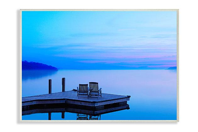 Lake Landscape Photograph 13x19 Wall Plaque, Blue, large