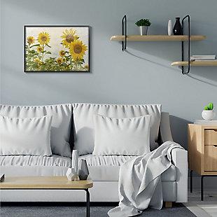 Sunflower Garden Farm 24x30 Black Frame Wall Art, Beige, rollover