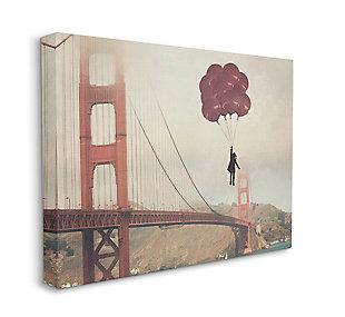 Bridge Girl Balloons 36x48 Canvas Wall Art, Beige, large