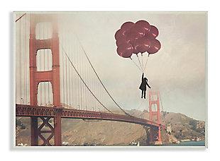 Bridge Girl Balloons 13x19 Wall Plaque, Beige, large