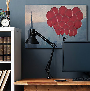 Cityscape Girl Balloons Canvas 36x48 Wall Art, Beige, rollover