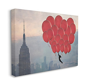 Cityscape Girl Balloons Canvas 36x48 Wall Art, Beige, large
