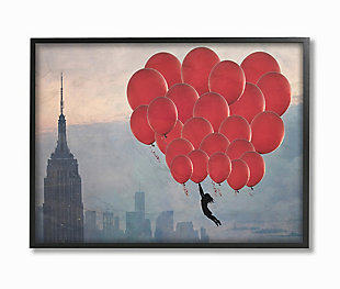 Cityscape Girl Balloons 11x14 Black Frame Wall Art, , large