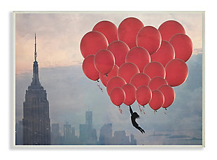 Cityscape Girl Balloons 13x19 Wall Plaque, Beige, large