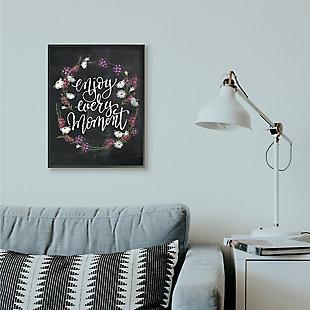 Enjoy Every Moment Flower Wreath 24x30 Black Frame Wall Art, Black, rollover