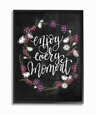 Enjoy Every Moment Flower Wreath 24x30 Black Frame Wall Art, Black, large