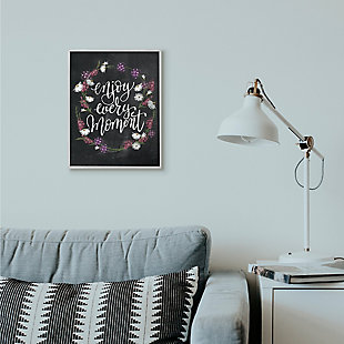 Enjoy Every Moment Flower Wreath 16x20 Gray Frame Wall Art, Black, rollover