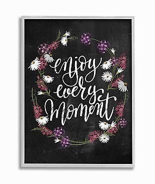 Enjoy Every Moment Flower Wreath 16x20 Gray Frame Wall Art, Black, large