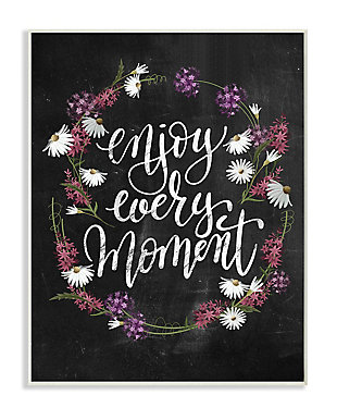 Enjoy Every Moment Flower Wreath 13x19 Wall Plaque, Black, large