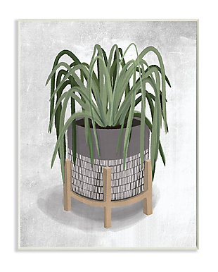 Friendly Spider Plant 13x19 Wall Plaque, Gray, large