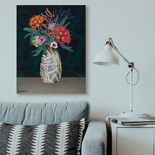 Flower Vase 36x48 Canvas Wall Art, Black, rollover