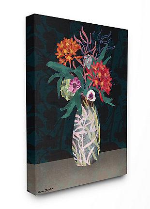 Flower Vase 36x48 Canvas Wall Art, Black, large