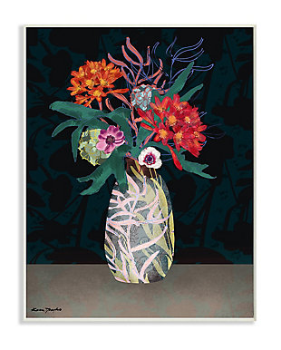 Flower Vase 13x19 Wall Plaque, Black, large