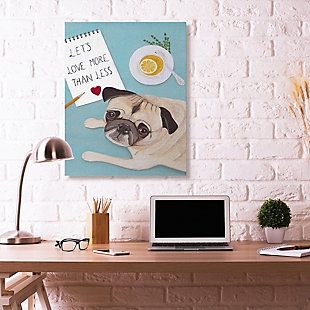 Love More Pug With Tea 36x48 Canvas Wall Art, Blue, rollover