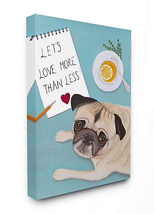 Love More Pug With Tea 36x48 Canvas Wall Art, Blue, large