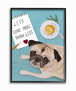 Love More Pug With Tea 24x30 Black Frame Wall Art, Blue, large