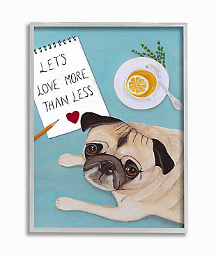 Love More Pug With Tea 16x20 Gray Frame Wall Art, Blue, large