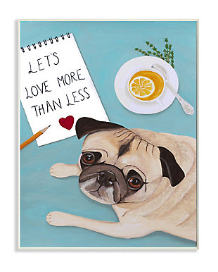 Love More Pug With Tea 13x19 Wall Plaque, Blue, large