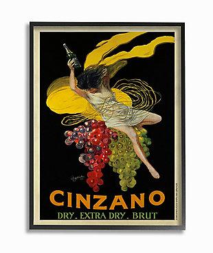Cinzano Vintage Poster Wine 24x30 Black Frame Wall Art, , large