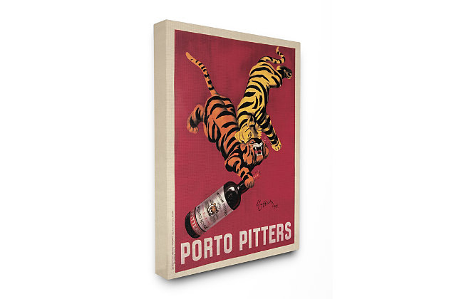 Porto Pitters Vintage 36x48 Canvas Wall Art, Red, large