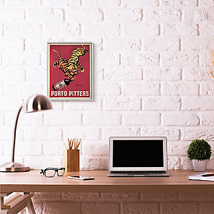 Porto Pitters Vintage 16x20 Gray Frame Wall Art, Red, rollover