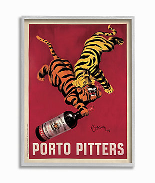 Porto Pitters Vintage 16x20 Gray Frame Wall Art, Red, large