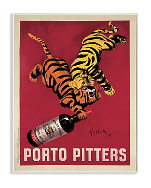 Porto Pitters Vintage 13x19 Wall Plaque, Red, large