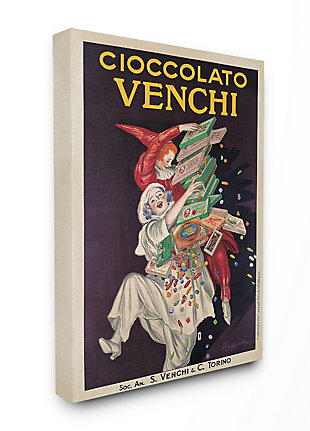 Cioccolato Venchi Vintage Poster Candy 36x48 Canvas Wall Art, Black, large